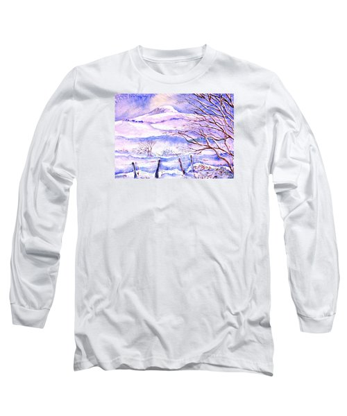 Long Sleeve T-Shirt featuring the painting Snowfall On Eagle Hill Hacketstown Ireland  by Trudi Doyle