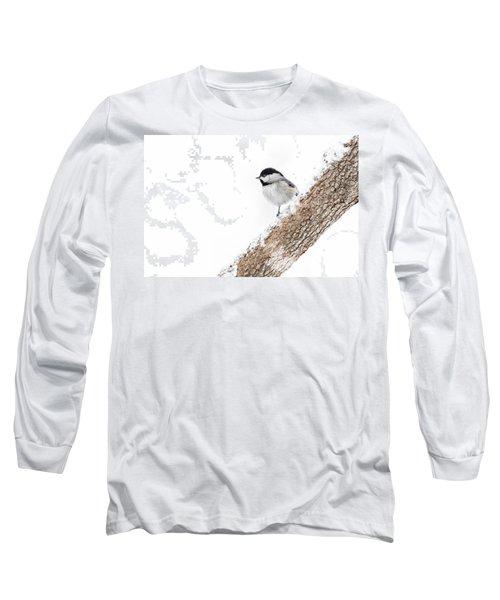 Snowy Chickadee Long Sleeve T-Shirt