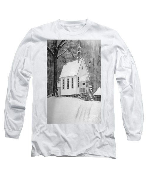 Snowy Gates Chapel -white Church - Portrait View Long Sleeve T-Shirt