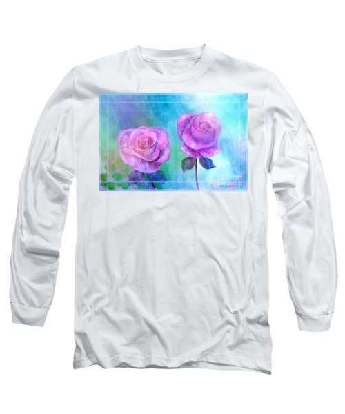 Long Sleeve T-Shirt featuring the painting Soft And Beautiful Roses by Annie Zeno