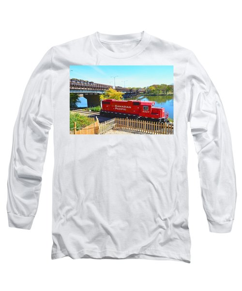 Solo Red Canadian Pacific Engine Along Rock River In Rockford Long Sleeve T-Shirt