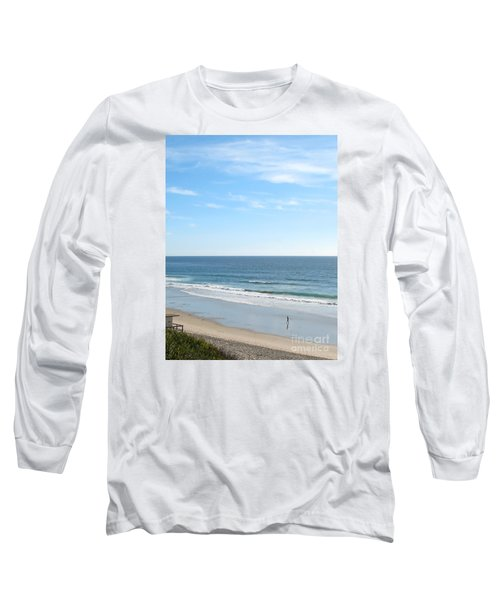 Long Sleeve T-Shirt featuring the photograph Solo Walk On Southern California Beach by Connie Fox