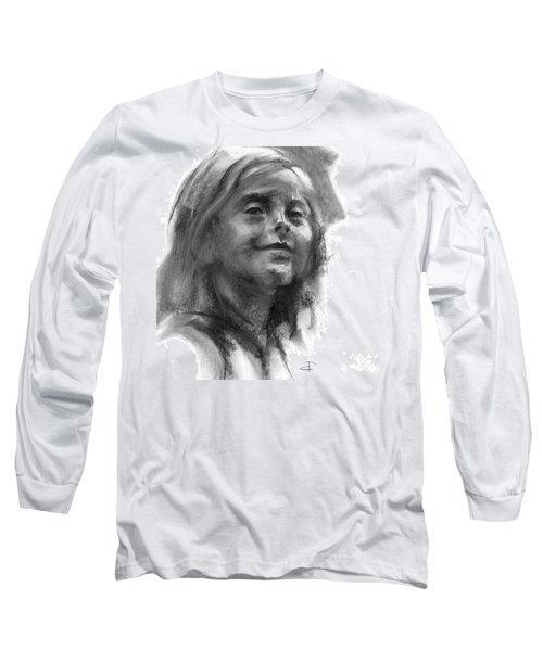 Long Sleeve T-Shirt featuring the drawing Sophie Section by Paul Davenport