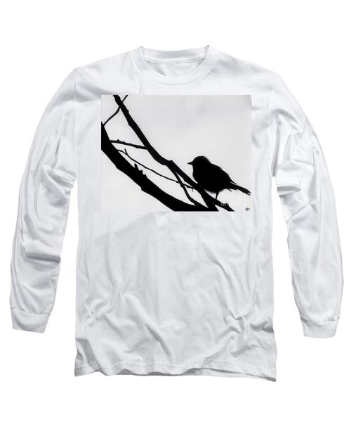 Long Sleeve T-Shirt featuring the drawing Sparrow In A Gray Sky by D Hackett