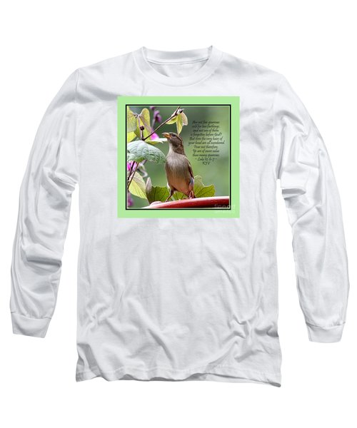 Sparrow Inspiration From The Book Of Luke Long Sleeve T-Shirt by Catherine Sherman