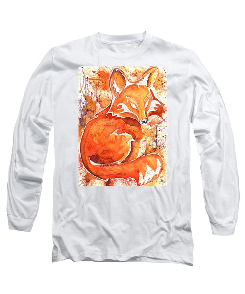 Long Sleeve T-Shirt featuring the painting Spirit Of The Fox by D Renee Wilson