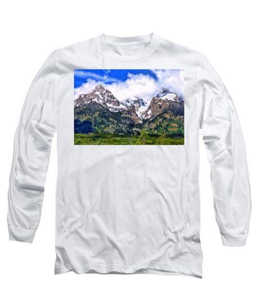 Long Sleeve T-Shirt featuring the painting Spring In The Grand Tetons by Michael Pickett