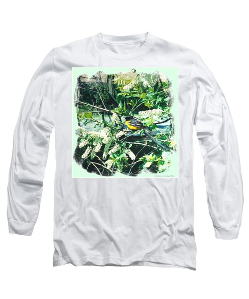 Springtime Moments- Oriole With The Cherry Blossoms Long Sleeve T-Shirt