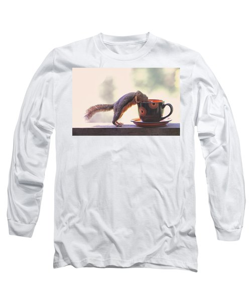 Squirrel And Coffee Long Sleeve T-Shirt by Peggy Collins