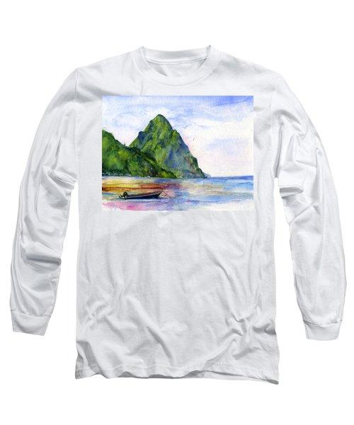 St. Lucia Long Sleeve T-Shirt by John D Benson