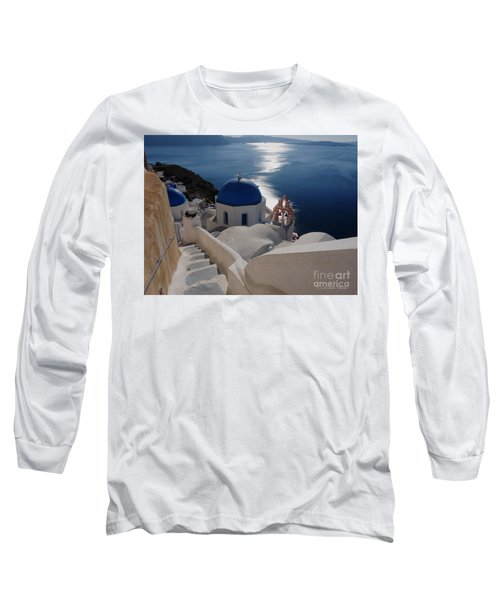 Stairway To The Blue Domed Church Long Sleeve T-Shirt by Lucinda Walter