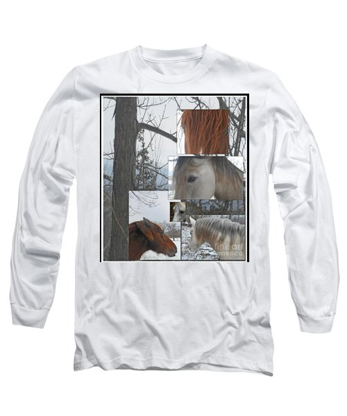 Stallions Collage There Is A Connection Long Sleeve T-Shirt by Patricia Keller