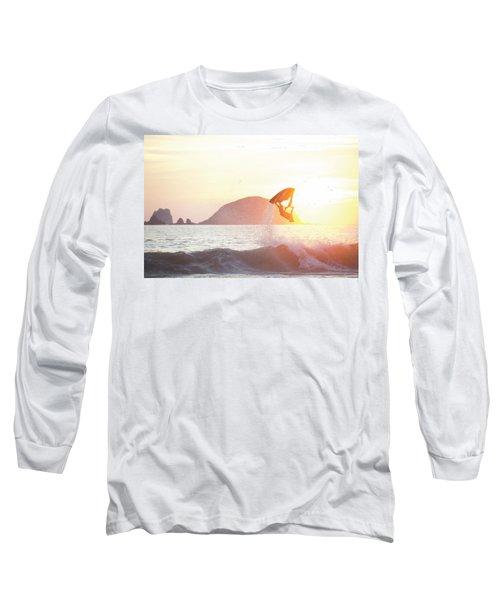 Stand Up Jet Ski Backflip At Sunset Long Sleeve T-Shirt