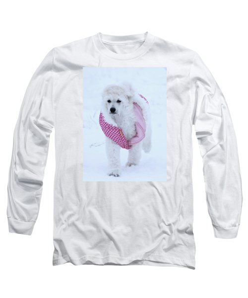 Standard Poodle In Winter Long Sleeve T-Shirt by Lisa  DiFruscio