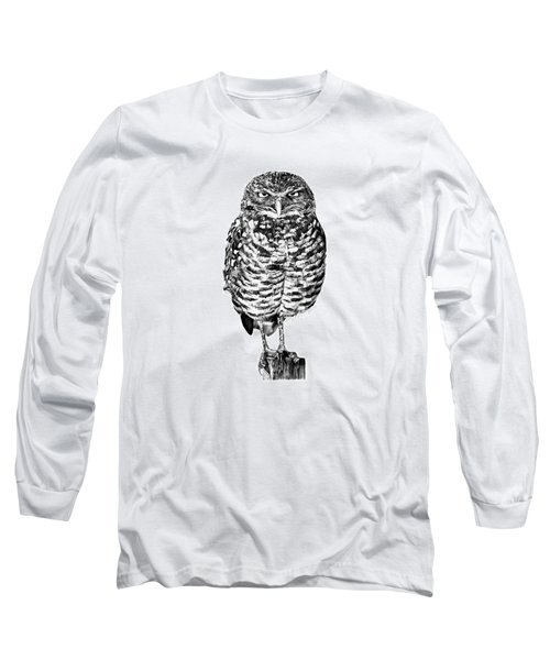 041 - Owl With Attitude Long Sleeve T-Shirt by Abbey Noelle