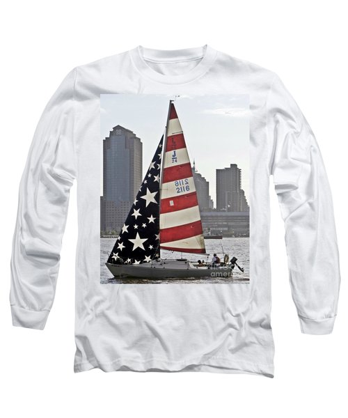 Long Sleeve T-Shirt featuring the photograph Star Spangled Sail  by Lilliana Mendez