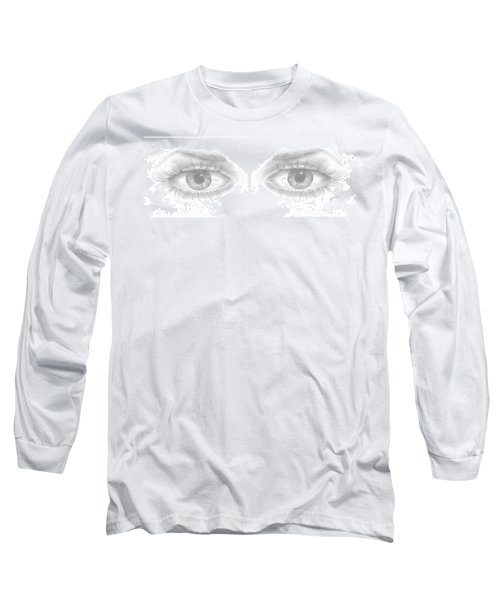 Long Sleeve T-Shirt featuring the drawing Stare by Terry Frederick