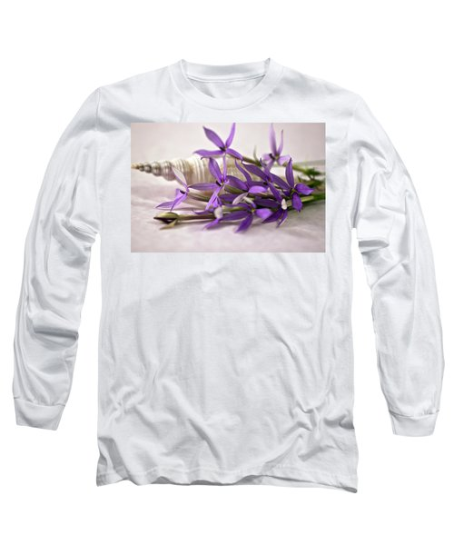 Starshine Laurentia Flowers And White Shell Long Sleeve T-Shirt by Sandra Foster