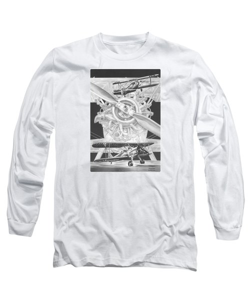 Long Sleeve T-Shirt featuring the drawing Stearman - Vintage Biplane Aviation Art by Kelli Swan