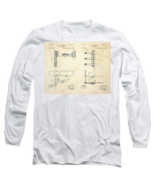 1885 Steinway Piano Pedal Patent Art Long Sleeve T-Shirt by Gary Bodnar
