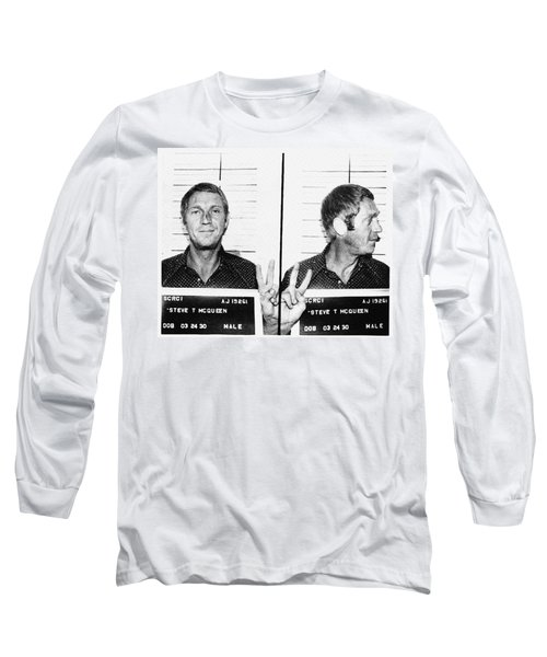 Long Sleeve T-Shirt featuring the photograph Steve Mcqueen Mugshot by Digital Reproductions