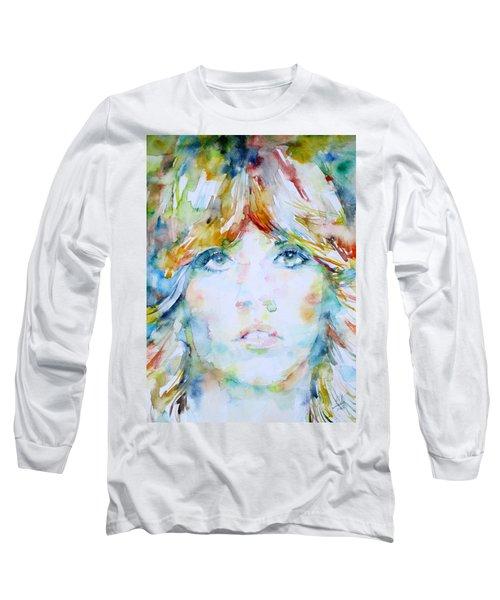 Stevie Nicks - Watercolor Portrait Long Sleeve T-Shirt by Fabrizio Cassetta