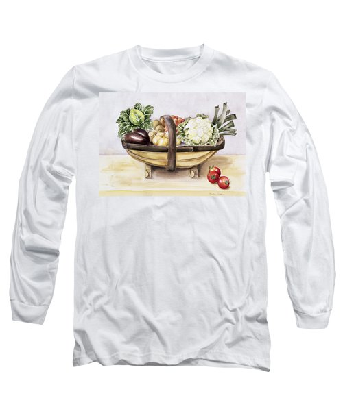 Still Life With A Trug Of Vegetables Long Sleeve T-Shirt by Alison Cooper