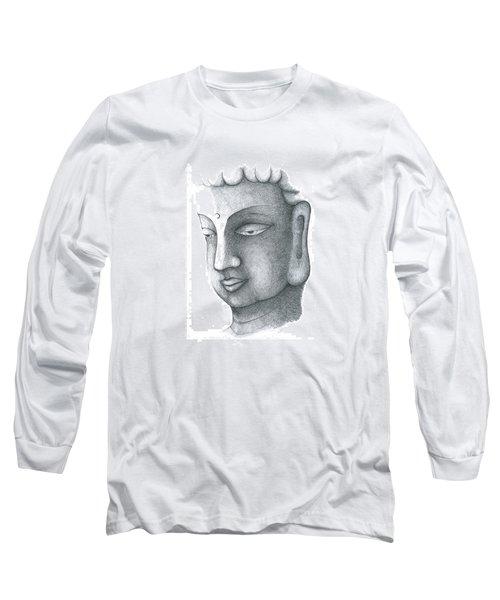 Long Sleeve T-Shirt featuring the drawing Stillness by Keiko Katsuta