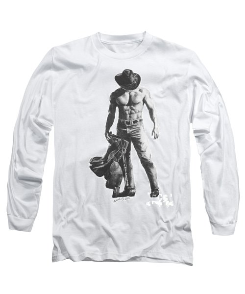 Long Sleeve T-Shirt featuring the drawing Strength Of A Cowboy by Marianne NANA Betts