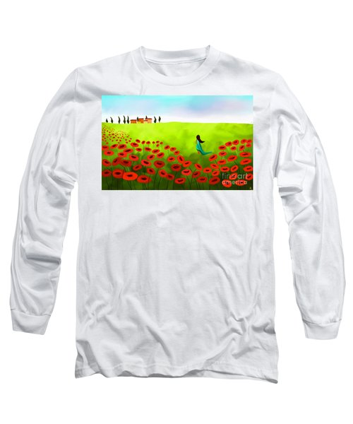 Strolling Among The Red Poppies Long Sleeve T-Shirt