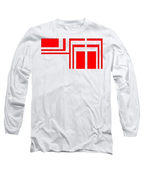 Long Sleeve T-Shirt featuring the digital art Study In White And Red by Cletis Stump