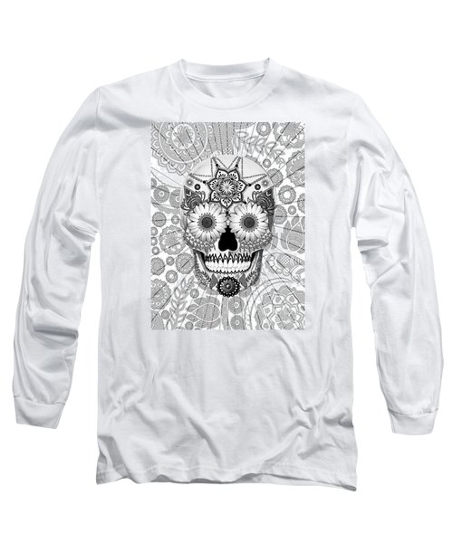 Sugar Skull Bleached Bones - Copyrighted Long Sleeve T-Shirt by Christopher Beikmann