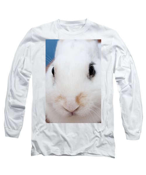 sugar the easter bunny 1 -A curious and cute white rabbit close up Long Sleeve T-Shirt