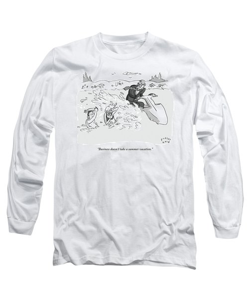 Suited Man Splashes Two Swimmers As He Rides Long Sleeve T-Shirt