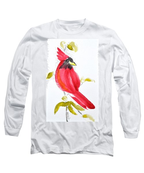 Long Sleeve T-Shirt featuring the painting Sumi-e Cardinal II by Beverley Harper Tinsley