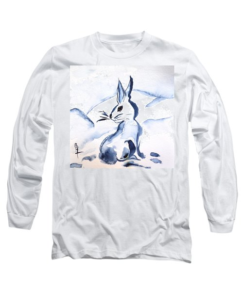 Sumi-e Snow Bunny Long Sleeve T-Shirt