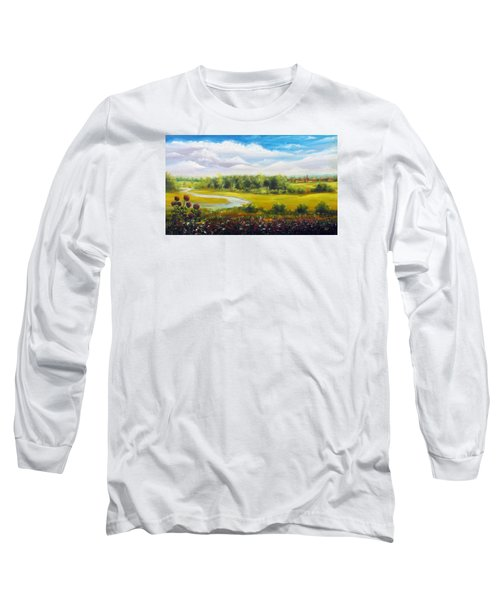 Long Sleeve T-Shirt featuring the painting Summer Day by Vesna Martinjak