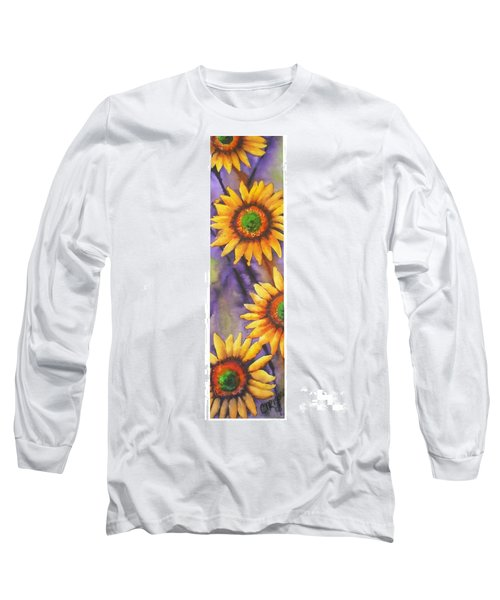 Long Sleeve T-Shirt featuring the painting Sunflower Abstract  by Chrisann Ellis