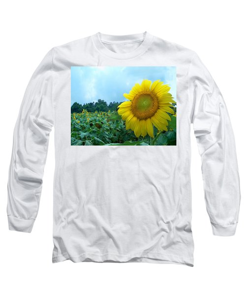 Sunflower Field Of Yellow Sunflowers By Jan Marvin Studios  Long Sleeve T-Shirt
