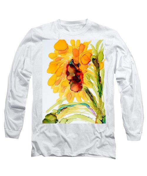 Sunflower Left Face Long Sleeve T-Shirt by Vicki  Housel