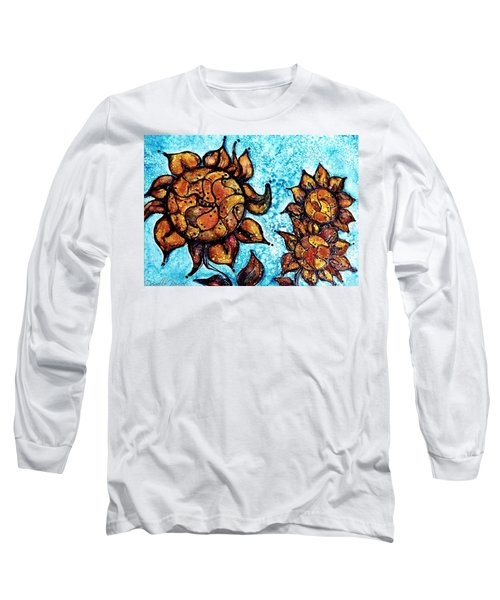 Sunflower Patchwork Delight Alcohol Inks Long Sleeve T-Shirt by Danielle  Parent