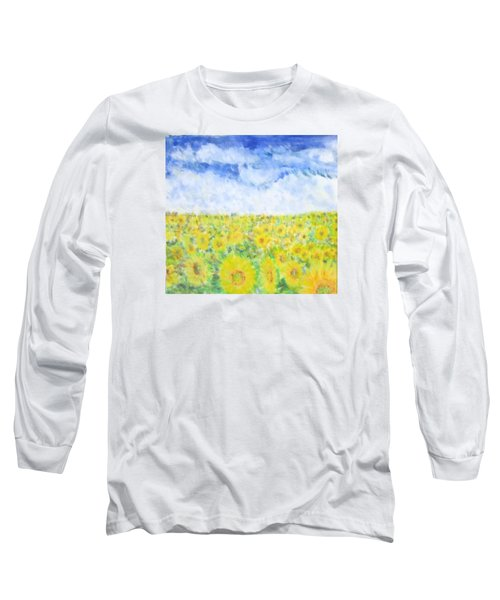 Sunflowers In A Field In  Texas Long Sleeve T-Shirt