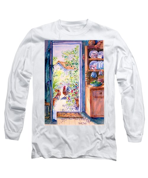Sunlit Cottage Doorway  Long Sleeve T-Shirt by Trudi Doyle