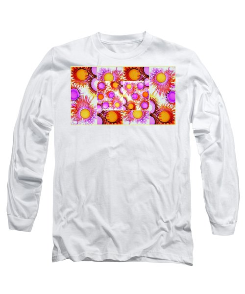 Sunny Happy Abstract Alcohol Inks Collage Long Sleeve T-Shirt