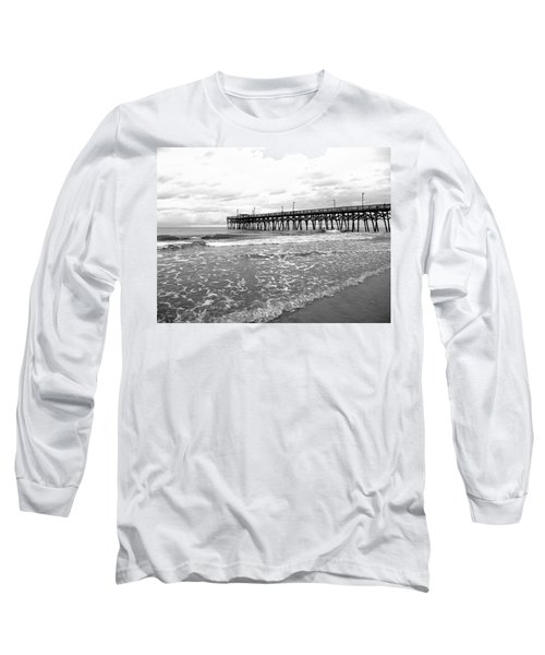 Long Sleeve T-Shirt featuring the photograph Sunrise At Surfside Bw by Barbara McDevitt