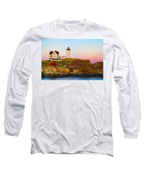 Sunset At Nubble Lighthouse Long Sleeve T-Shirt