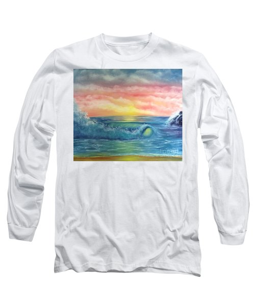 Sunset At The Seashore  Long Sleeve T-Shirt by Becky Lupe