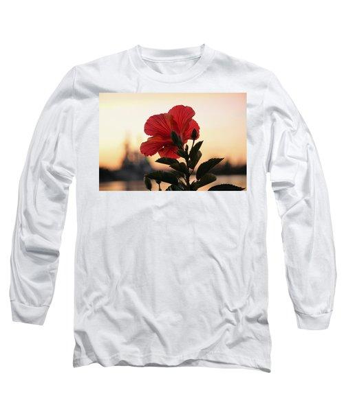 Long Sleeve T-Shirt featuring the photograph Sunset Flower by Cynthia Guinn