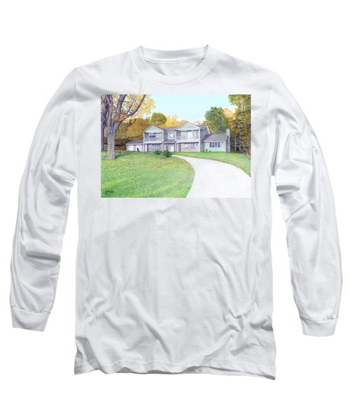 Long Sleeve T-Shirt featuring the painting Sunset House In Fall by Albert Puskaric
