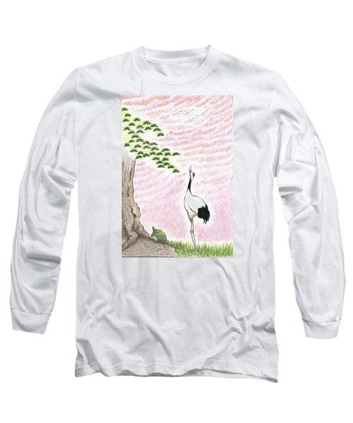 Long Sleeve T-Shirt featuring the drawing Sunset by Keiko Katsuta